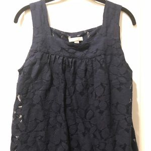 Navy Blue Lace Tank Top